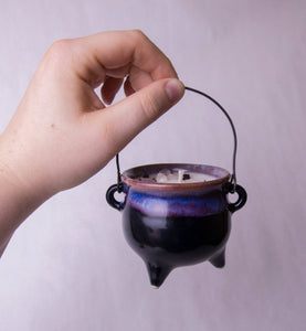 8 oz. Purple Cauldron Candle - Oakmoss, Amber, Rosemary and Sage
