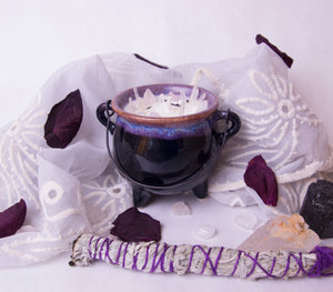 6.5 oz. Purple Cauldron Candle - Oakmoss, Amber, Rosemary and Sage