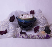 Load image into Gallery viewer, 8.4 oz. Green Cauldron Candle - Oakmoss, Amber, Rosemary and Sage