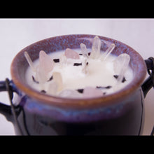 Load image into Gallery viewer, 6.5 oz. Purple Cauldron Candle - Oakmoss, Amber, Rosemary and Sage