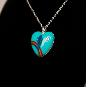 Blue Rainbow Heart Pussy Necklace