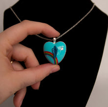 Load image into Gallery viewer, Blue Rainbow Heart Pussy Necklace