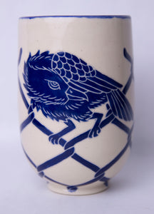 18 oz. Cobalt Carved Raven Mug