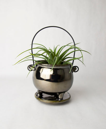 Ceramic Silver Cauldron Hanging Planter