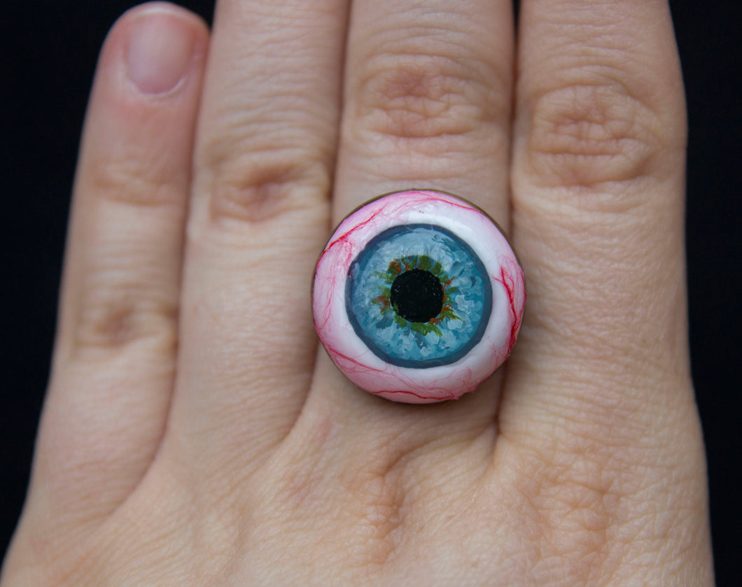 Spooky Realistic Blue Eyeball Ring