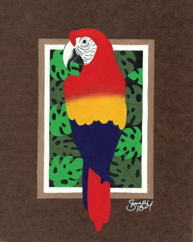 Abstracted Color Block Parrot Giclee Print