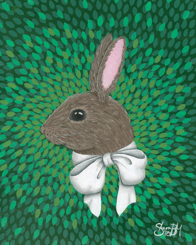 Rabbit with Bow Print
