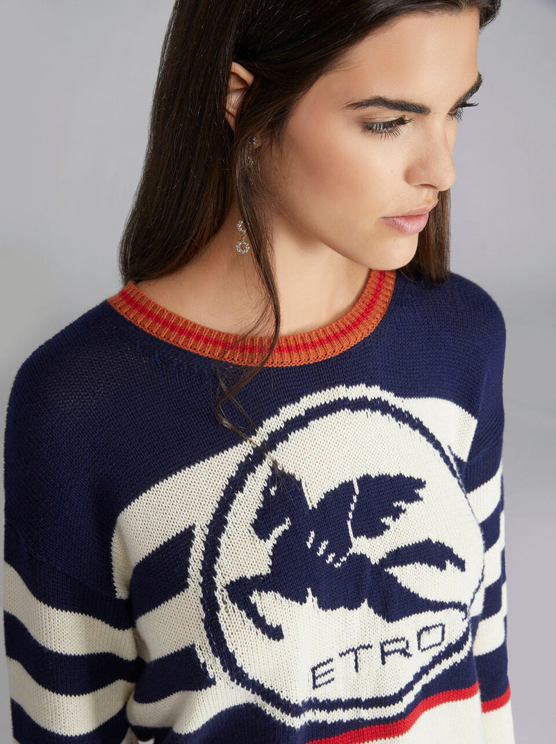 Sweater white blue