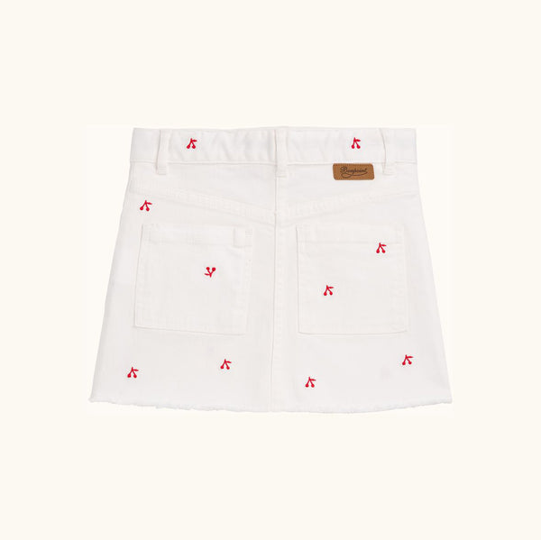Jeansskirt white with red Berries