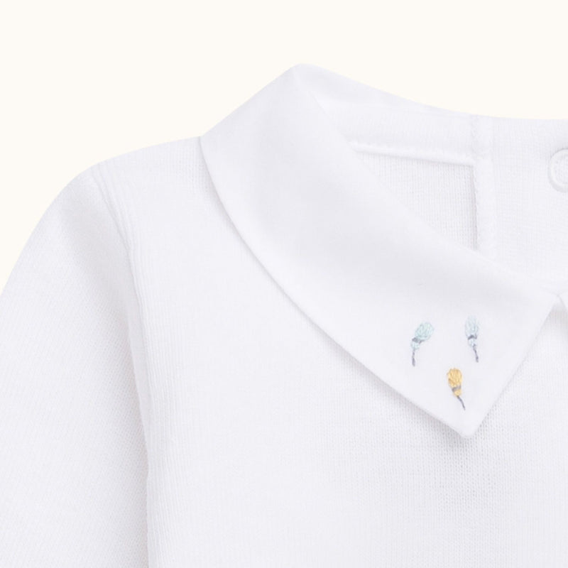 Babybody white with 3 little flowers on collar