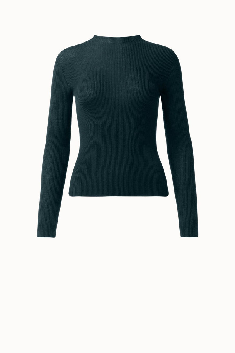 Fitted Cashmere Silk Ribbed Knit Round Neck Pullover