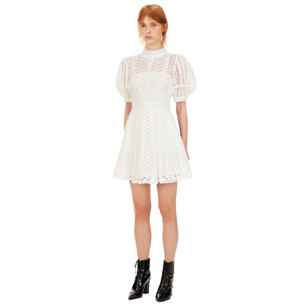 White Cotton Broderie Mini Dress