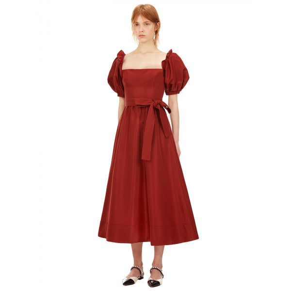 Rust Taffeta Midi Dress