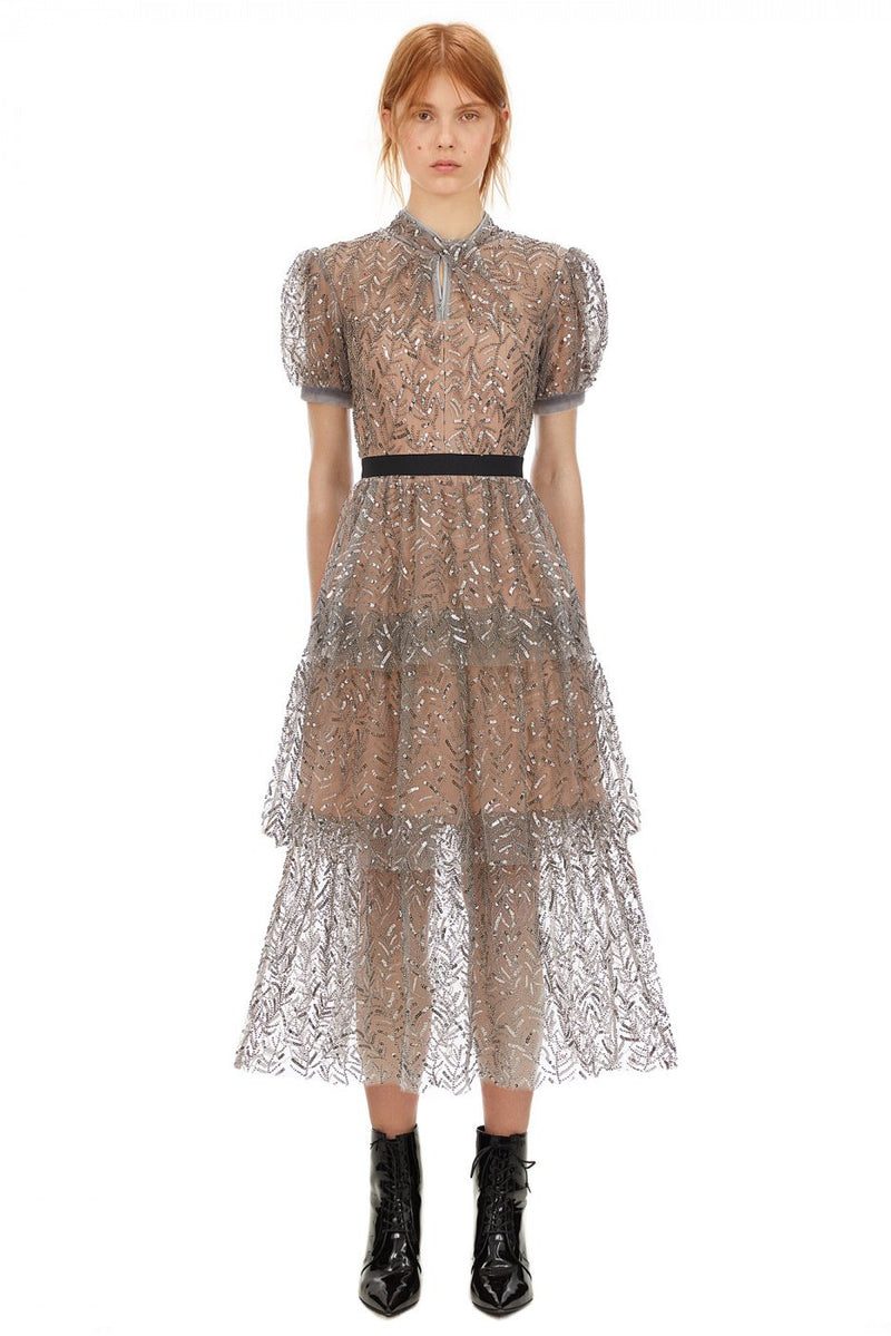 Leaf Sequin Tiered Midi Dress