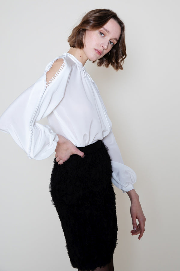 White Blouse Button Sleeves