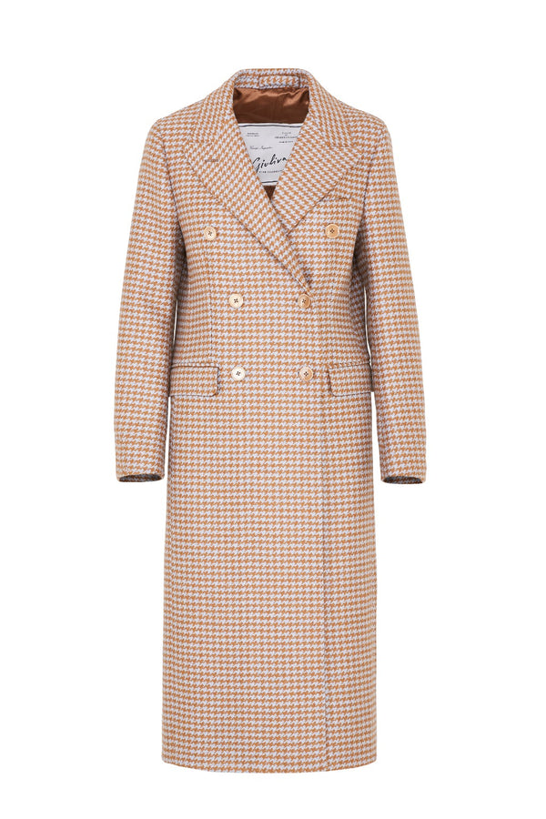 Coat rust sky blue Cindy Coat-Grand Houndstooth