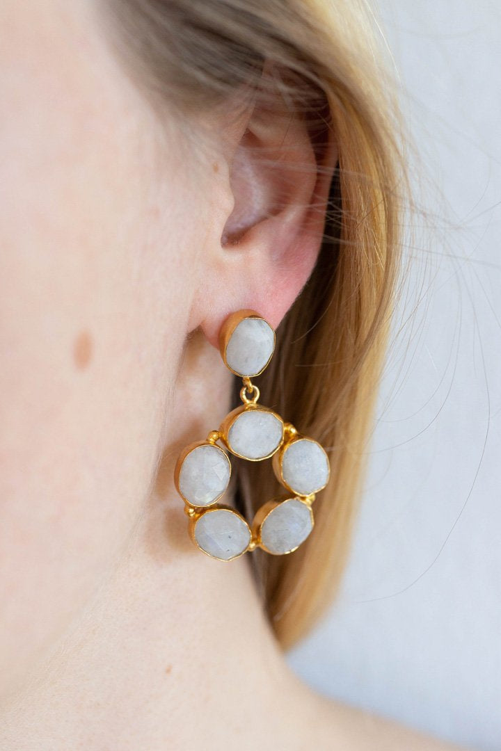 White Ring Earrings