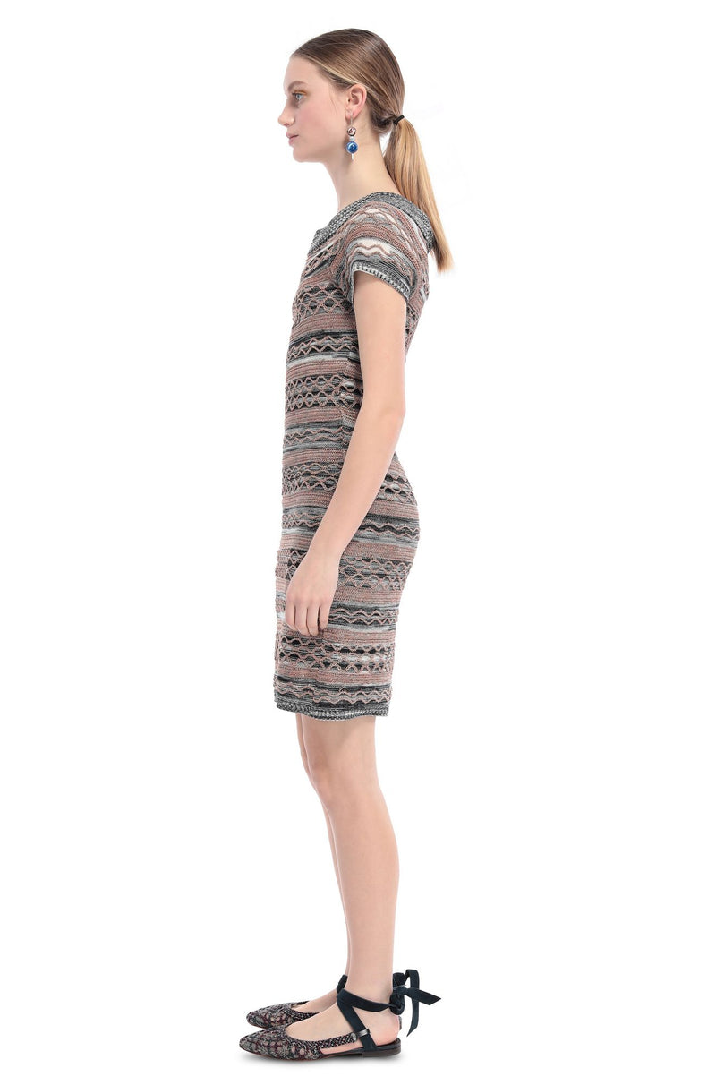 Short Multi Pattern Knit Dress