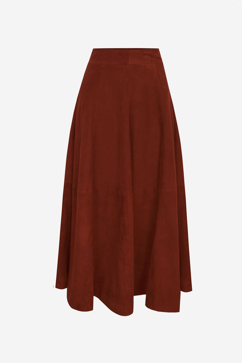 Suede Leather Skirt Spicy Red