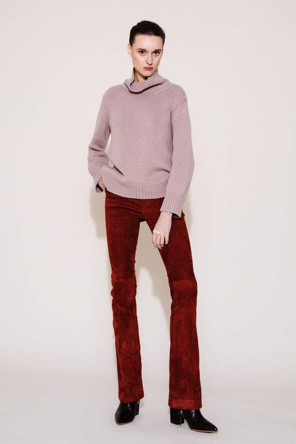 Suede Leather Pants Spicy Red