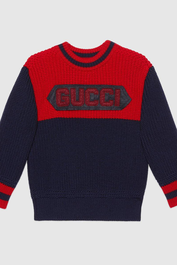 Children's wool jumper with Gucci patch