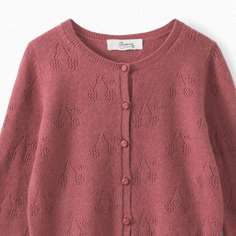Cashmere cardigan embelished with cherries