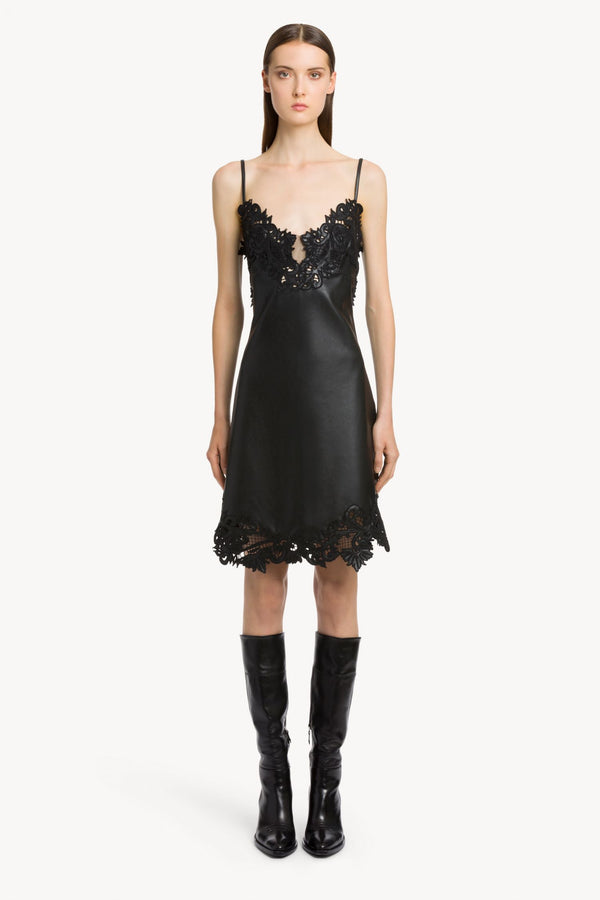 Embroidered Faux Leather Slip Dress