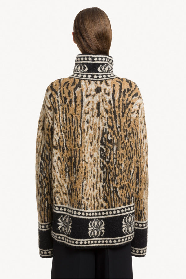 Jacquard-Knit Animal-Pattern Jumper