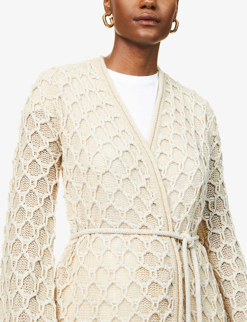 Relief textured-pattern wool-blend cardigan