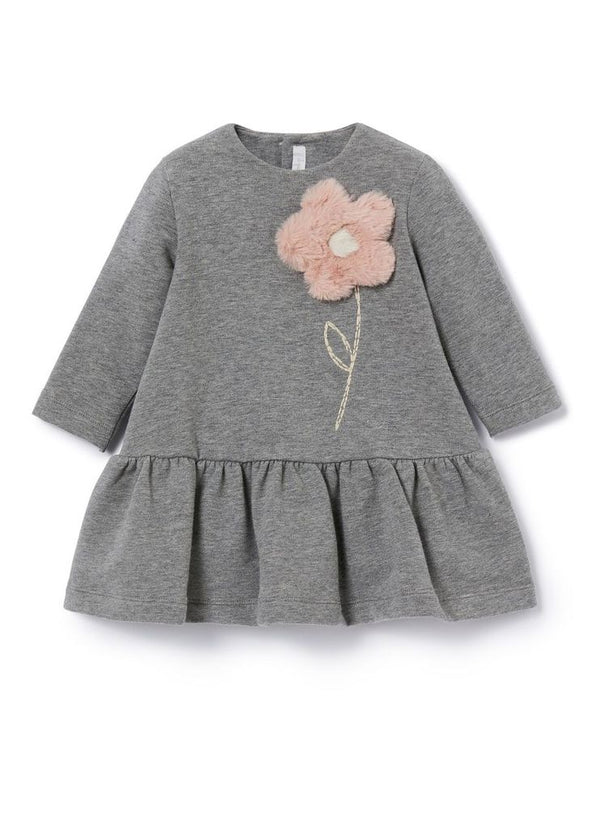 Grey Cameo Dress with Flower