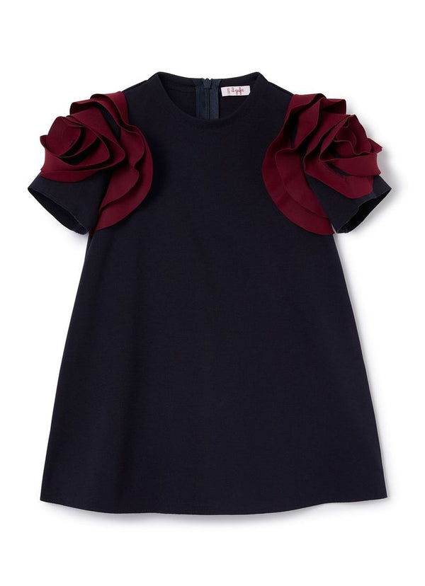 Navy Dress with Burgundy Roses