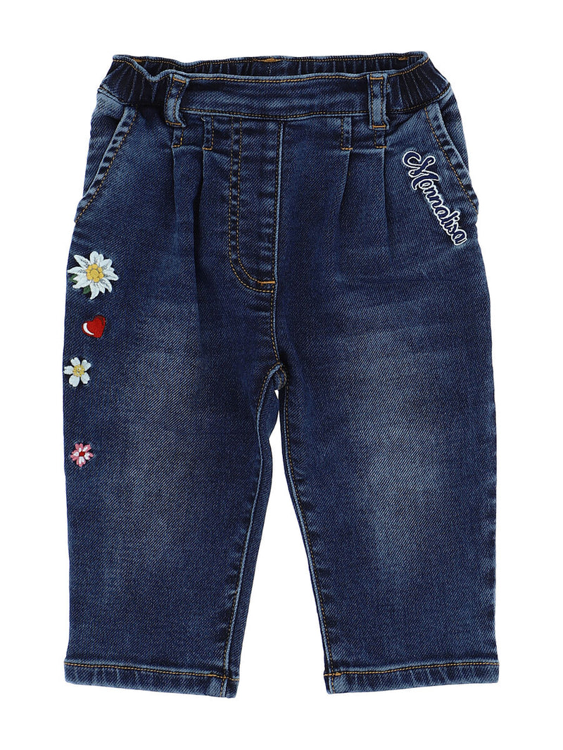 Embroidered denim effect sweatpants