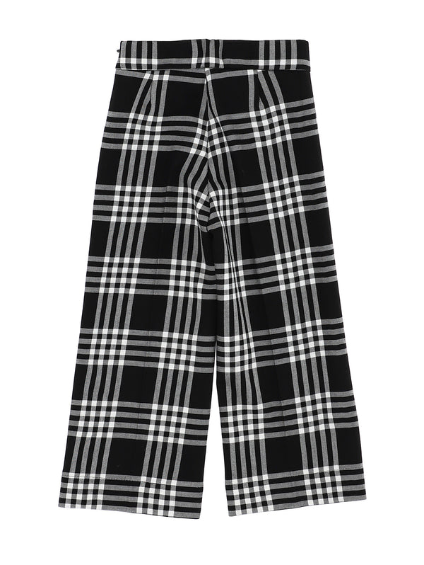 Check Trousers Black White