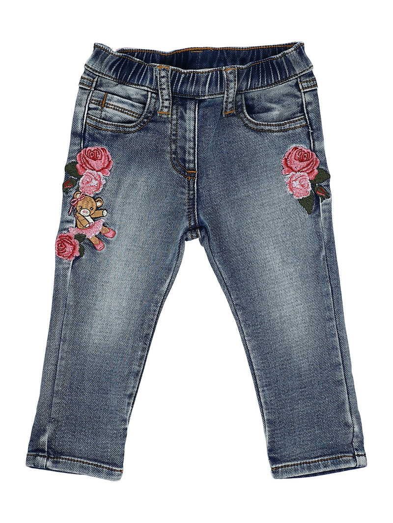 Embroidered Jeans with Roses