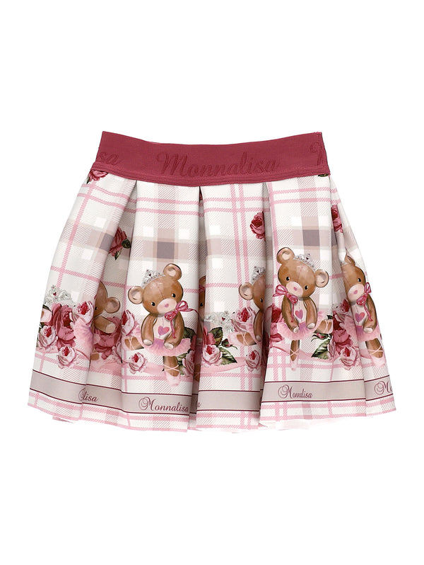 Neoprene Skirt with Teddy Print
