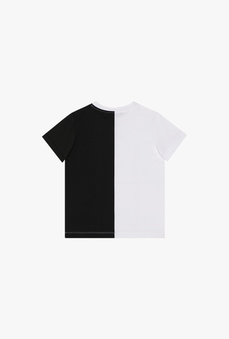 Black and white bicolor cotton T-shirt