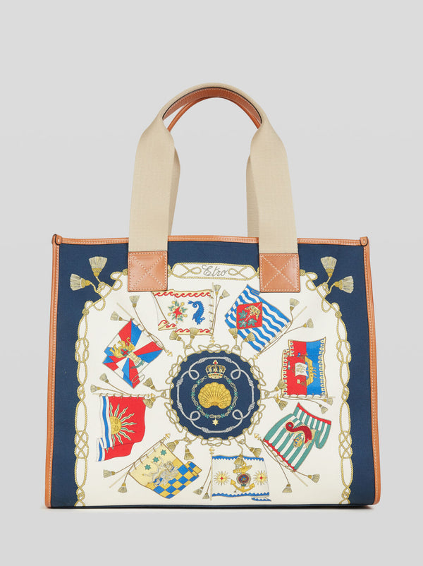 NAUTICAL PRINT SHOPPING BAG