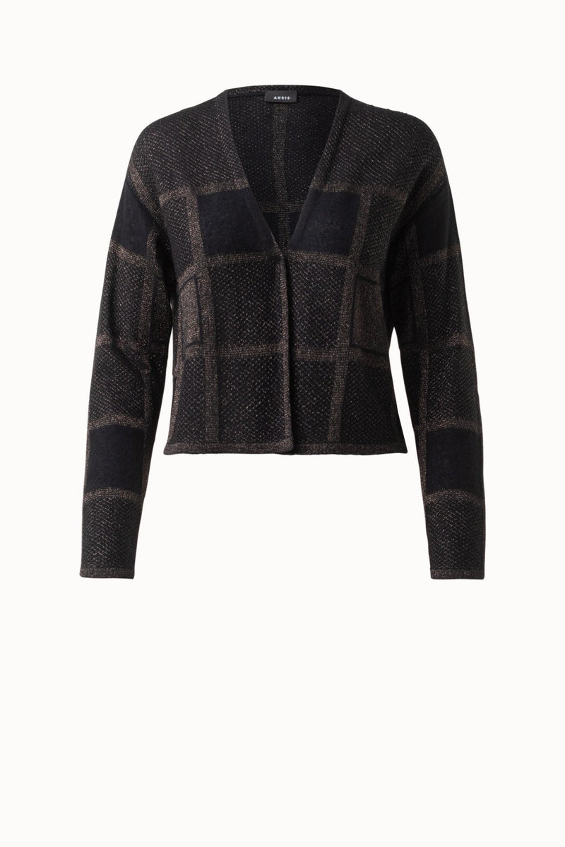 Cropped Plaid Cashmere Knit Cardigan