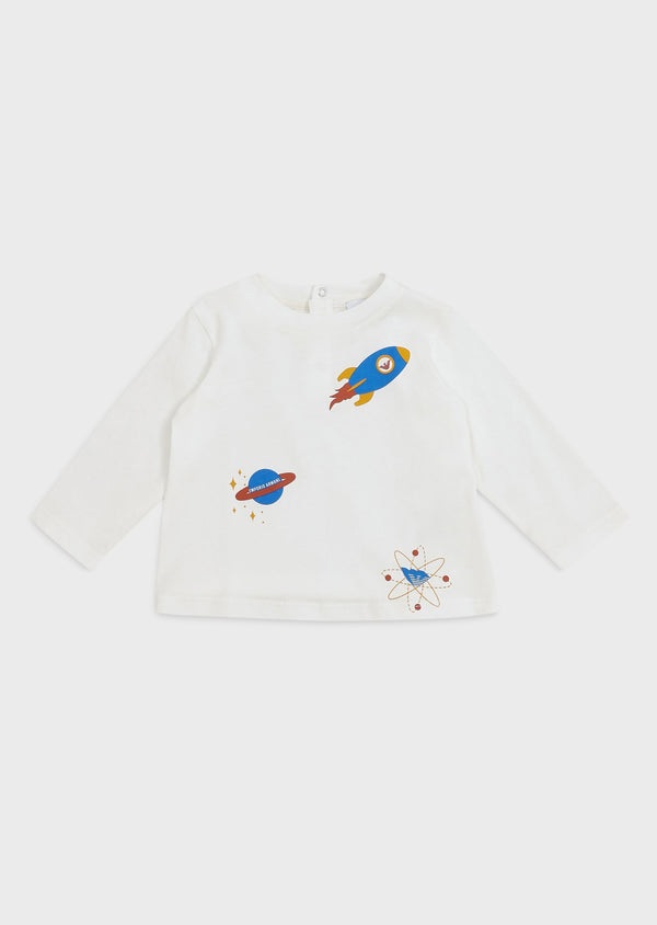 Cotton jersey sweater with rockets