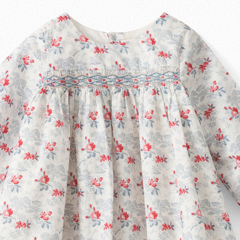 BABY EXCLUSIVE LIBERTY FABRIC DRESS NATURAL WHITE