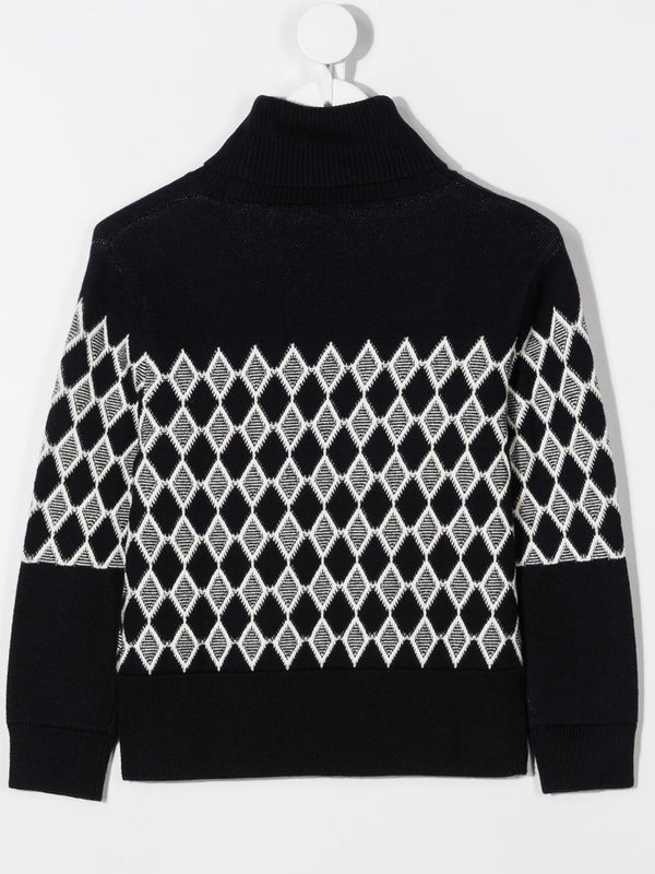 Diamond knit sweater with roll neck