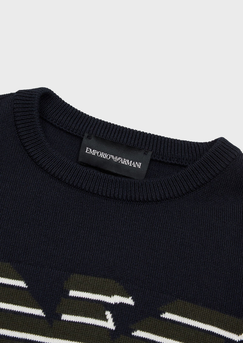 Virgin wool blend sweater with jacquard logo