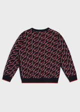 Virgin wool blend sweater with all-over jacquard eagle