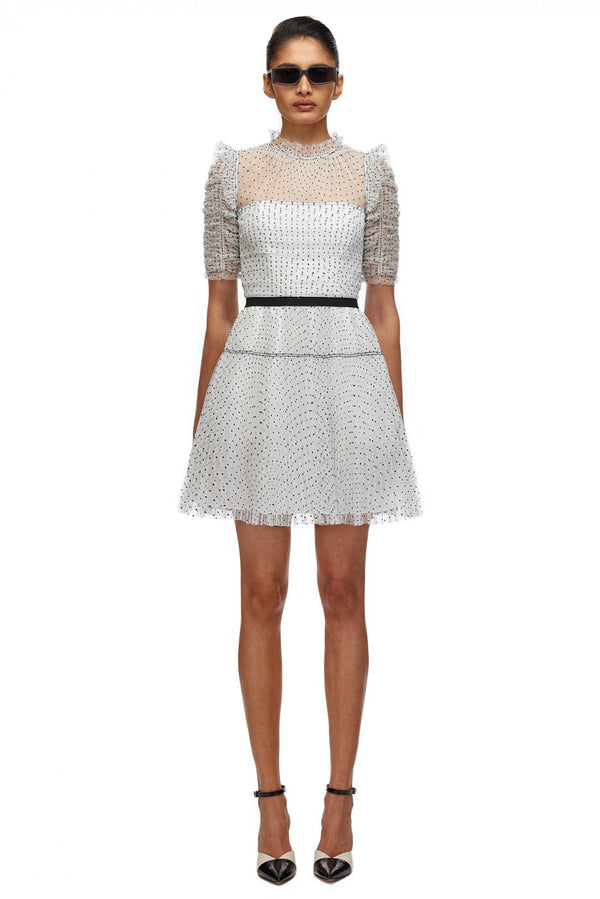 Dot Mesh Pleated Skirt Mini Dress