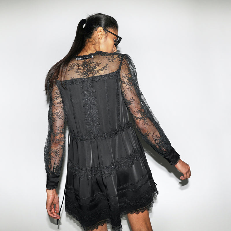 Black Lace Trimmed Mini Dress