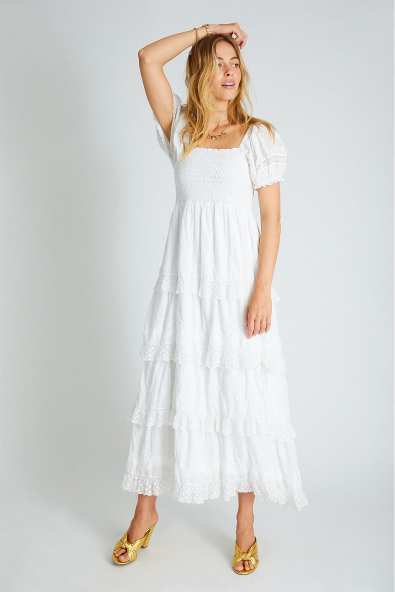 Capella Tiered Maxi Dress White