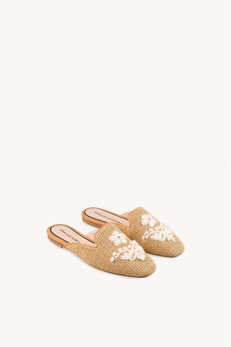 Embroidered Raffia Slippers