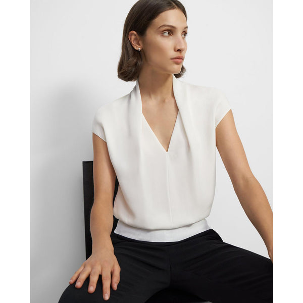 Draped Short-Sleeve Top in Silk