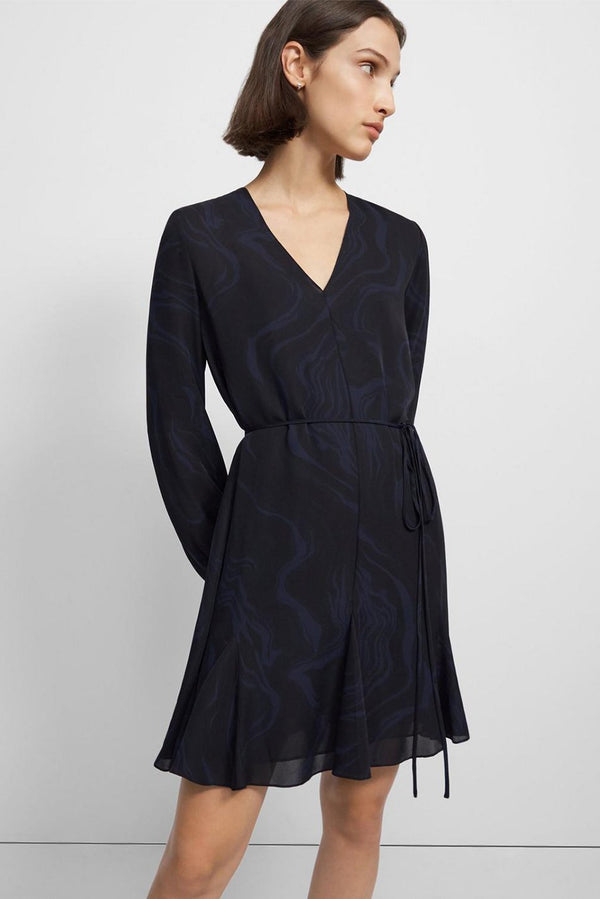 V-Neck Godet Dress in Galaxy Silk