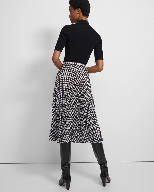Pleated Skirt in Check Twill